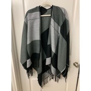 Sweaters - Black and White Plaid Poncho
